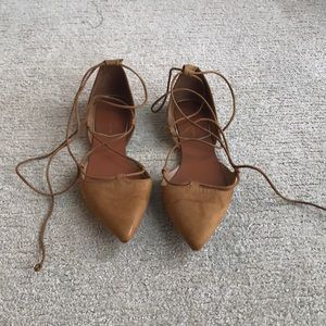 Zara Collection Brown Lace Up Flats Size 8